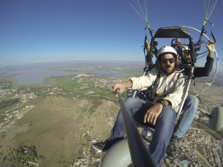 Happy flying in paramotor