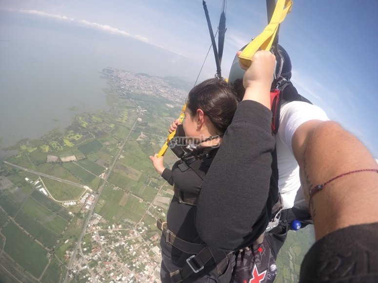 Enjoying the parachute jump