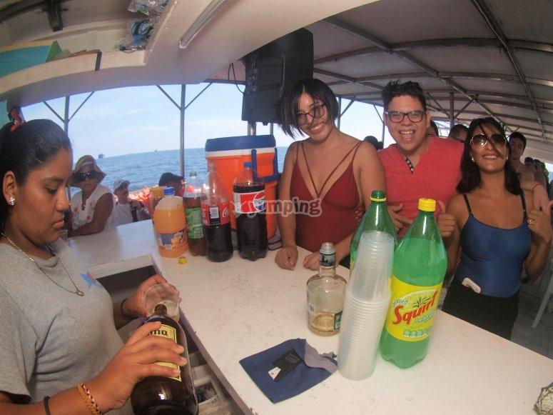 Enjoying drinks in Manzanillo