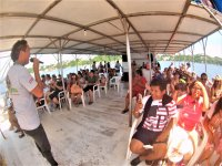 Cheering the catamaran in santiago bay