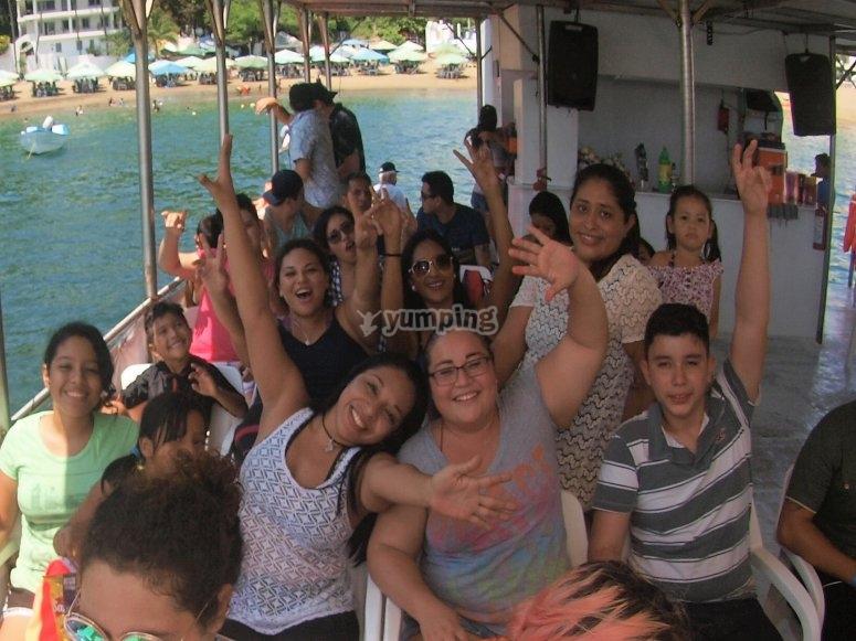 Enjoying the catamaran in Manzanillo