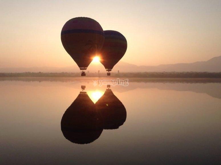 Sunrise over a balloon