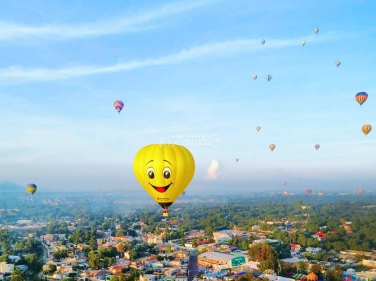 Balloons in landscape