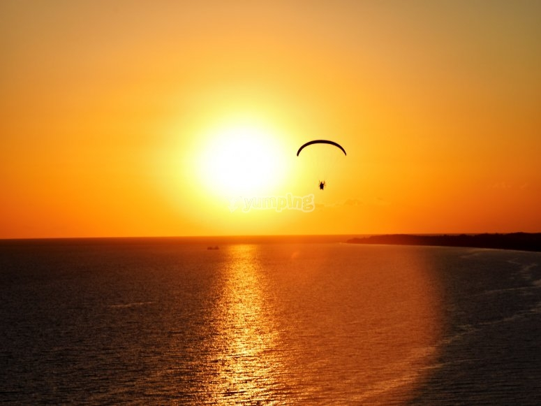 Sunset from a paramotor