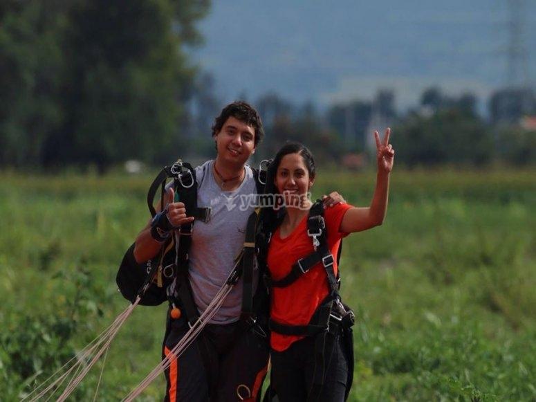 Landing after parachute jumping