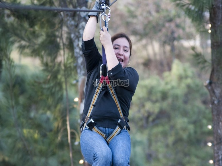 Excited in zip line