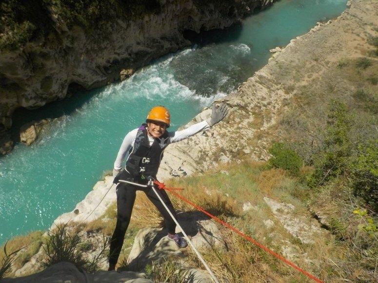 Practice rappelling in the Huasteca waterfalls