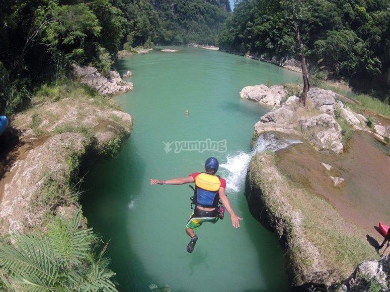 Jump in the waterfall of Tamul