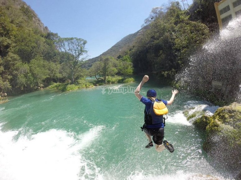 Jump in the Micos waterfall