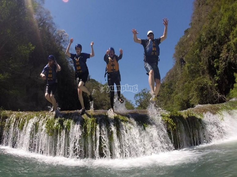 Our team jumping in the waterfalls of Micos in the Huasteca