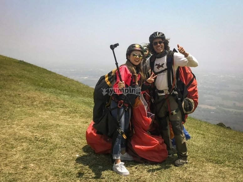 Ready to fly in paragliding