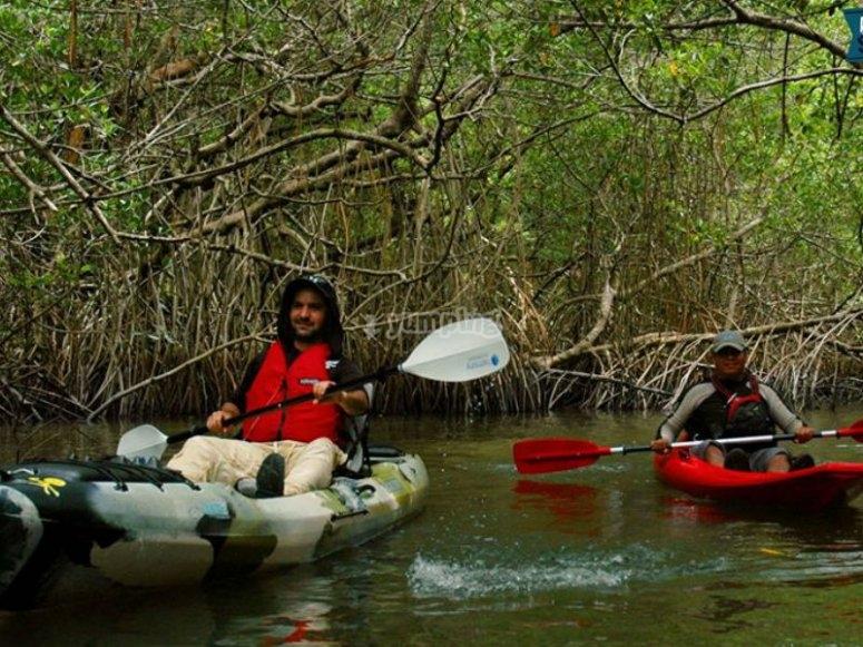 Remando en kayak monoplaza