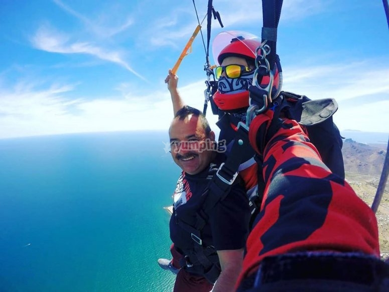 Happy parachute jumping