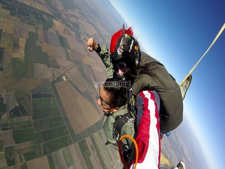 Exciting parachute jumping