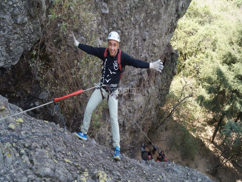 Starting the rappelling adventure