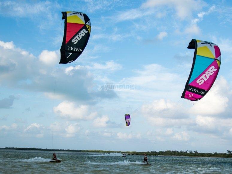 Flying with kitesurfing