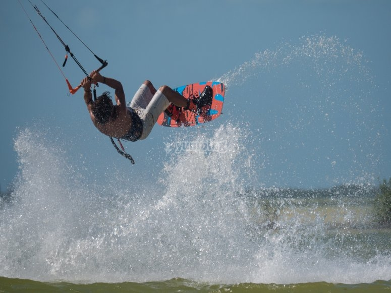 Flying with board and kite