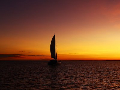 Sailboat at sunset in Cancun 2 hours
