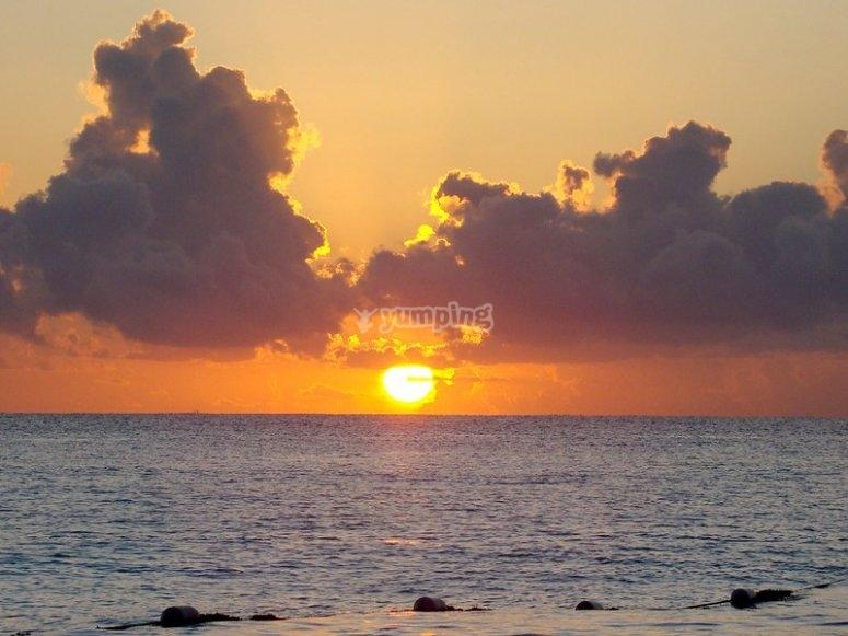 Puesta de sol en Cancún