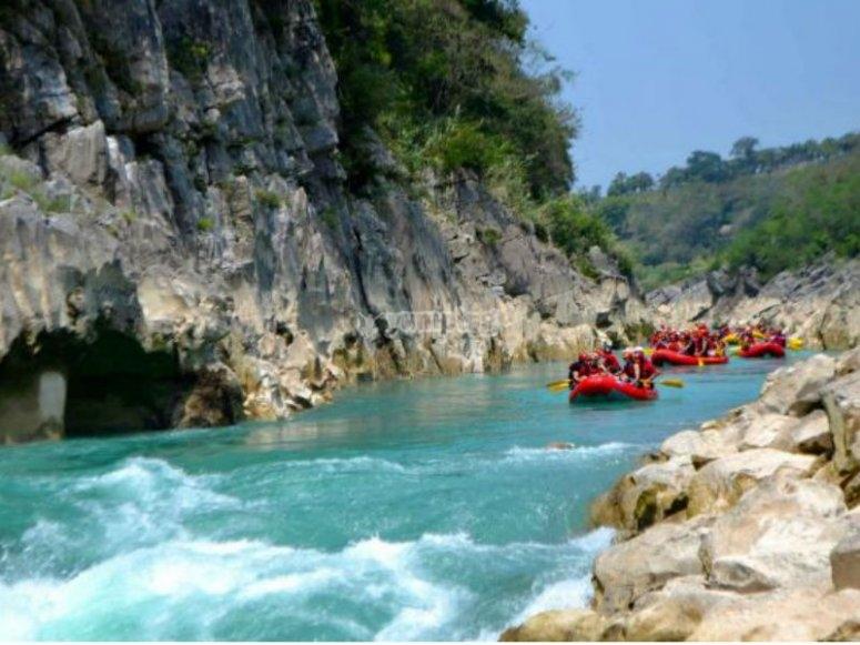 Enjoying beautiful scenery with rafting