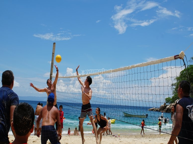 Have fun with beach volleyball