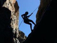 Descending the rock