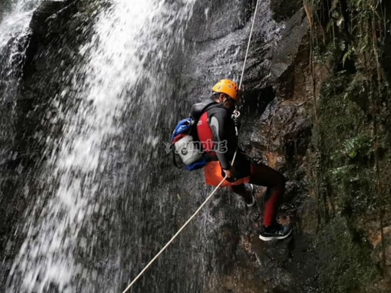 Rappel of waterfalls