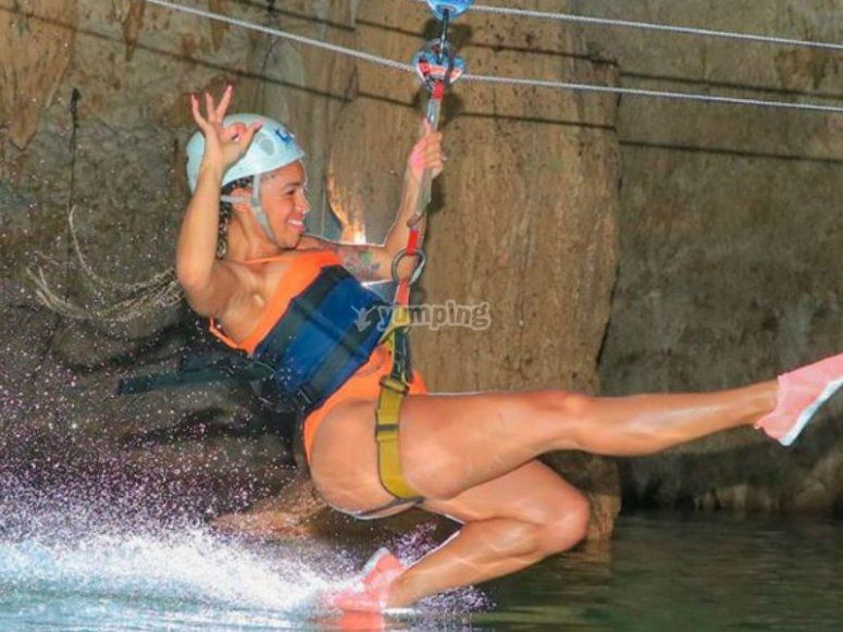 The zip line that takes you to cool off to the cenote
