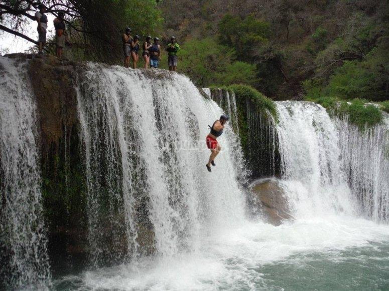 Fun in waterfalls