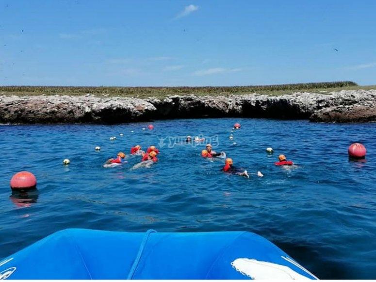 Disfrutando el snorkeling