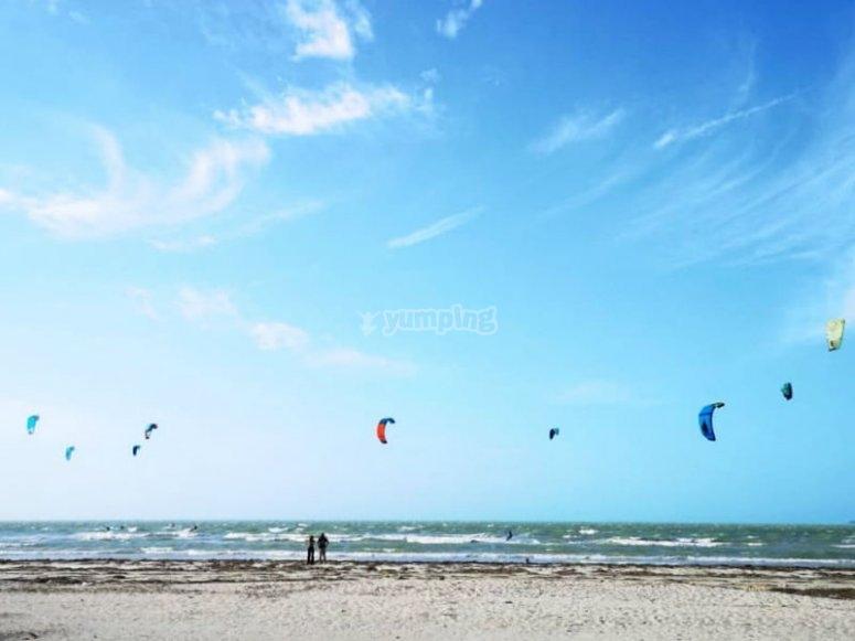 Playon en Progreso the ideal place for kitesurfing