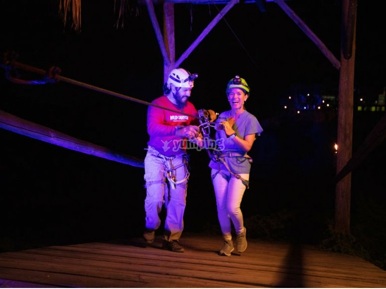 Zipline at night