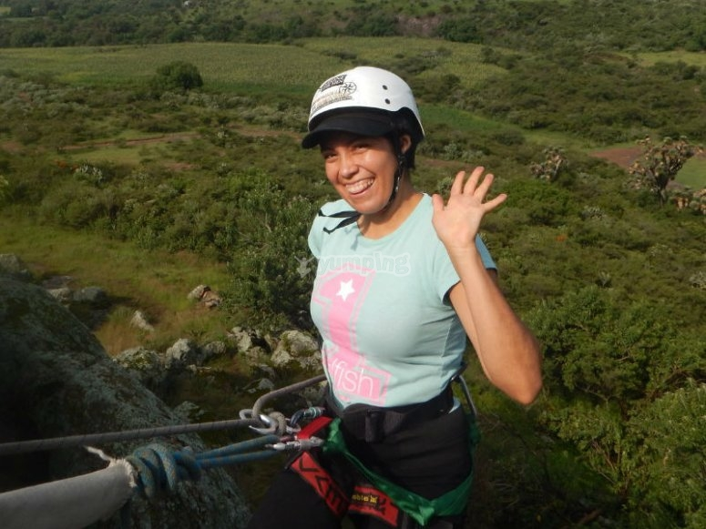 Rappelling downhill