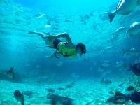 Swimming among manta rays