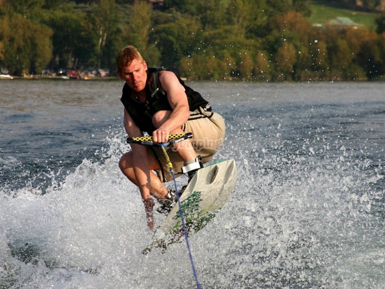 Slide in the water on your board