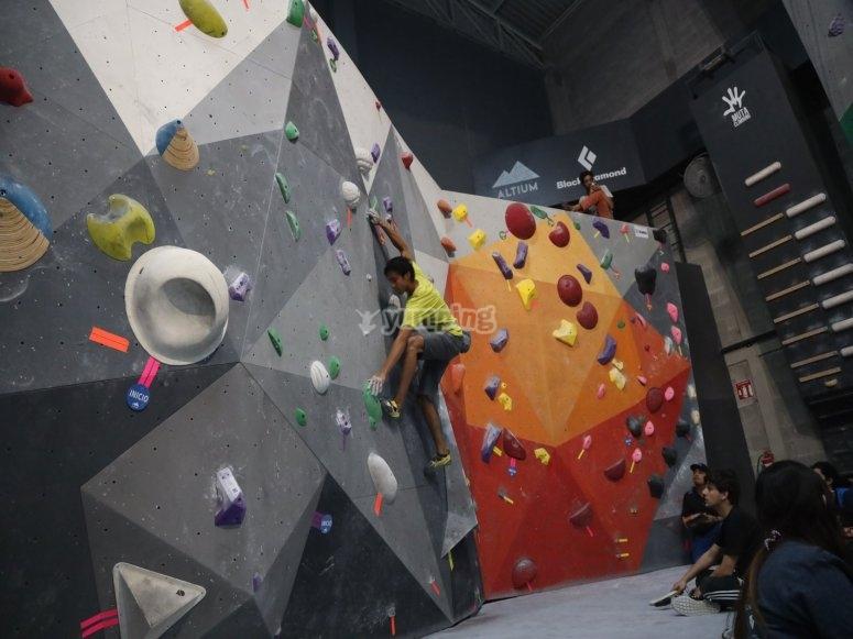 Climbing on a wall