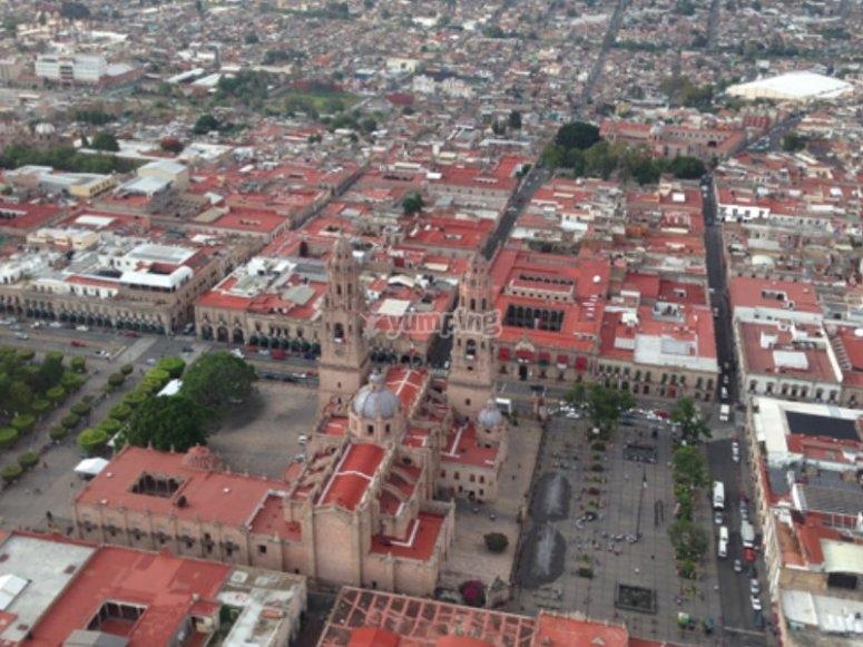 Catedral de Morelia desde las alturas