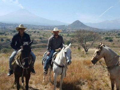 Horseback riding in Popocatepetl skirts from Cholula 3hr