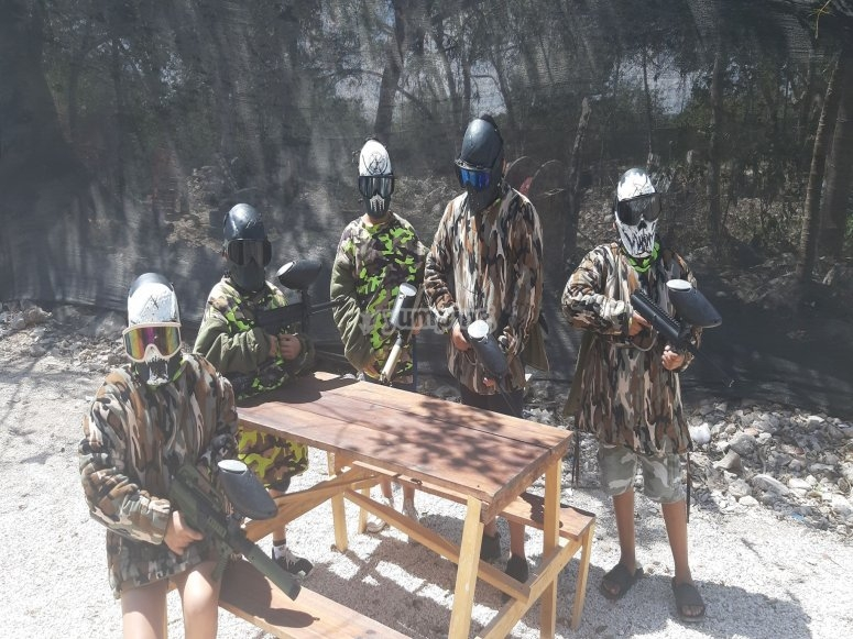 Practicing paintball