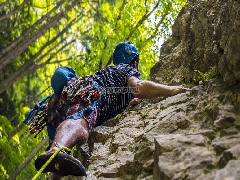 Natural rock climbing