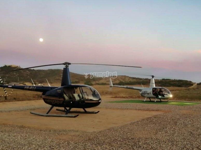 Paseo en helicoptero al atardecer