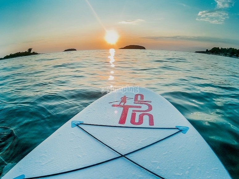 Enjoy beautiful sunsets on your SUP board