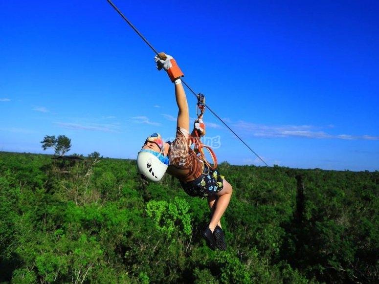 Zip line stunts