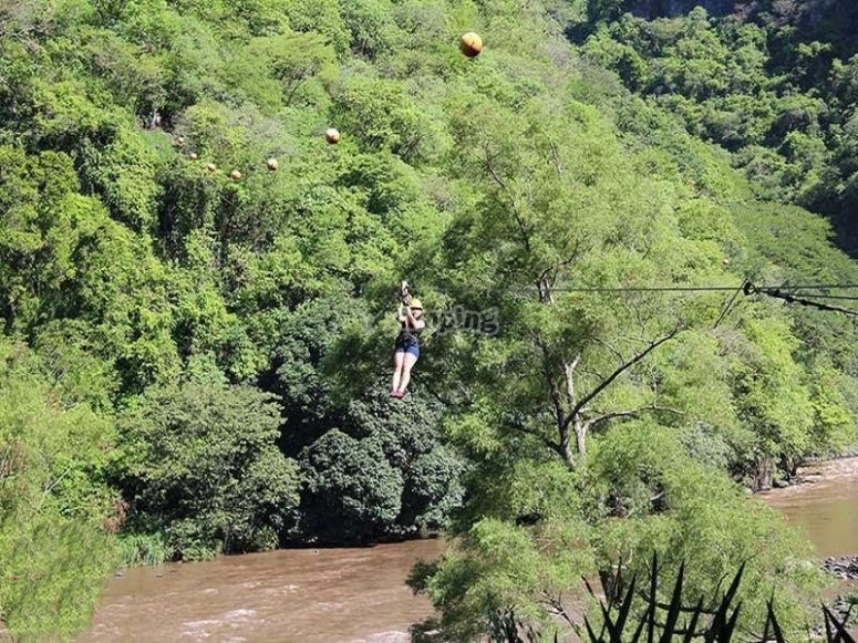 Slide in our river zip line