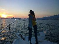 A hug at sunset