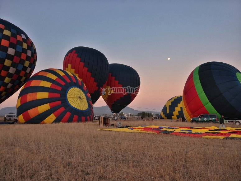 Sunrise in a hot air balloon