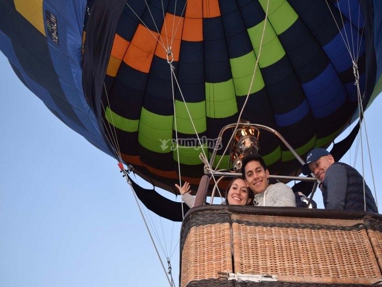 Happy flying in a balloon