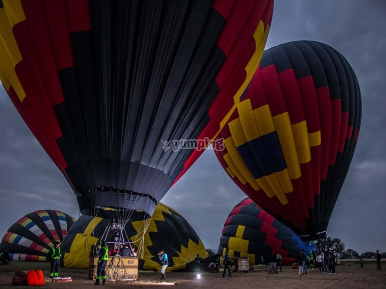 Inflating the hot air balloons