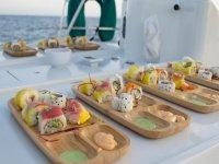 Sushi en el barco