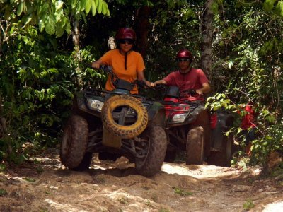 Two-seater cenote and zipline ATV tour Cancun kids